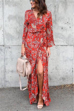 Fashion Sexy V Neck Long Sleeved Floral Print Maxi Dress