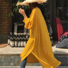 Fashion Pure Color Loose Show Thin Long Sunscreen Shirt Maxi Dress