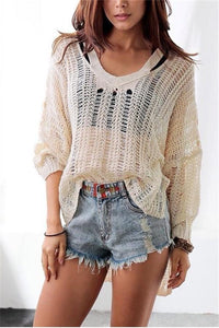 Fashion Sexy V Neck   Hollow Out Knit Sweater Apricot one size
