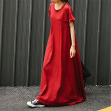 Fashion Round Collar Short Sleeve Loose Maxi Dress