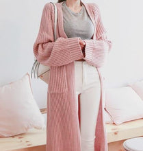 Fashion Loose Pure Color Long Knit Sweater Cardigan Cost
