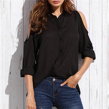 Fashion Sexy Off The Shoulder Looose Pure Color Shirt
