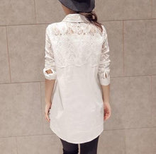 Fashion Long Sleeve Loose Show Thin Lace Shirt