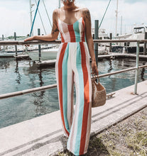 Fashion Sexy V Neck Rainbow Stripe Sling Wide Leg Jumpsuit