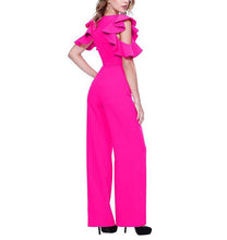 Fashion Sexy V Neck Falbala Sleeve Wide Leg Jumpsuit