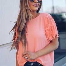 Fashion Loose Tassels Short Sleeve Pure Color T-Shirt Blouse
