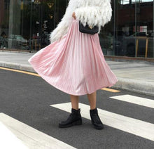 Fashion Pure Color Slim Show Thin Velvet Pleated Skirt