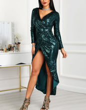 Fashion Sexy V Neck Sequins Show Thin Maxi Dress