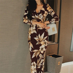 Casual Sexy V Neck   Show Thin Floral Print Maxi Dresses Multi xl