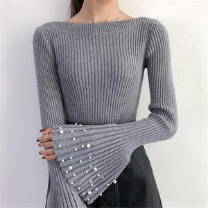 Casual Pagoda Sleeve Boat Neck Riveted Pearl Knitted Sweater