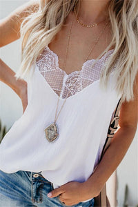 Casual Loose Sexy Lace   Stitching Vest Blouse White s
