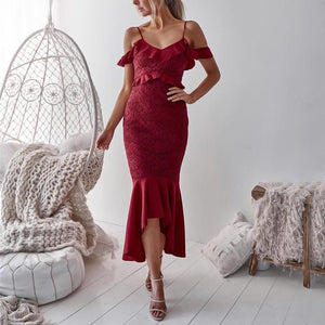 Casual Sexy Off The   Shoulder Falbala Sling Maxi Dresses Red xl
