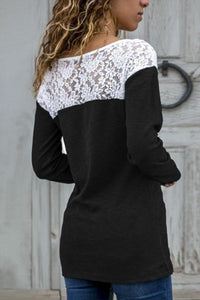 Round Neck  Lace Patchwork T-Shirts Black l