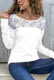Round Neck  Lace Patchwork T-Shirts Green xl