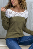 Round Neck  Lace Patchwork T-Shirts Black xl