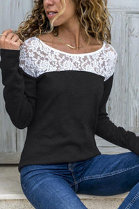Round Neck  Lace Patchwork T-Shirts Black s