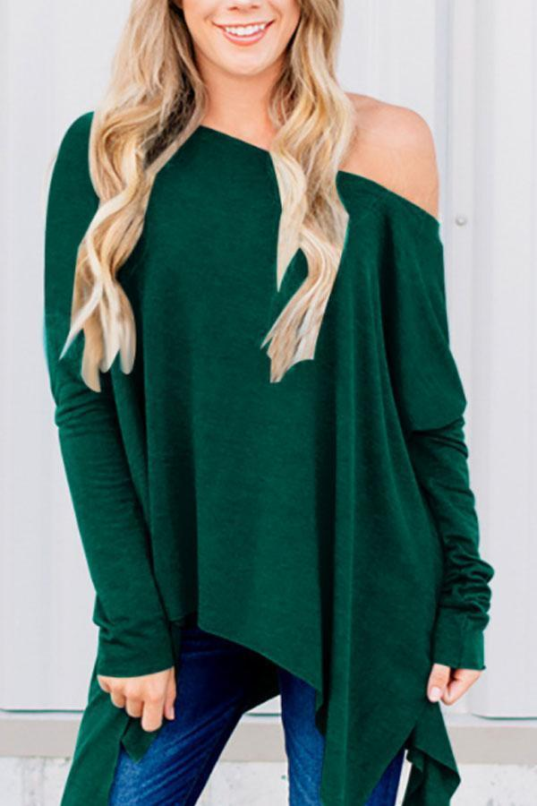 One Shoulder  Asymmetric Hem  Plain T-Shirts Green s