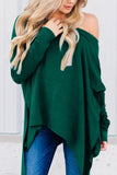 One Shoulder  Asymmetric Hem  Plain T-Shirts Green m