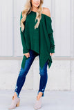 One Shoulder  Asymmetric Hem  Plain T-Shirts Green xl