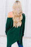 One Shoulder  Asymmetric Hem  Plain T-Shirts Green l