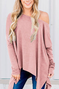 One Shoulder  Asymmetric Hem  Plain T-Shirts Pink s