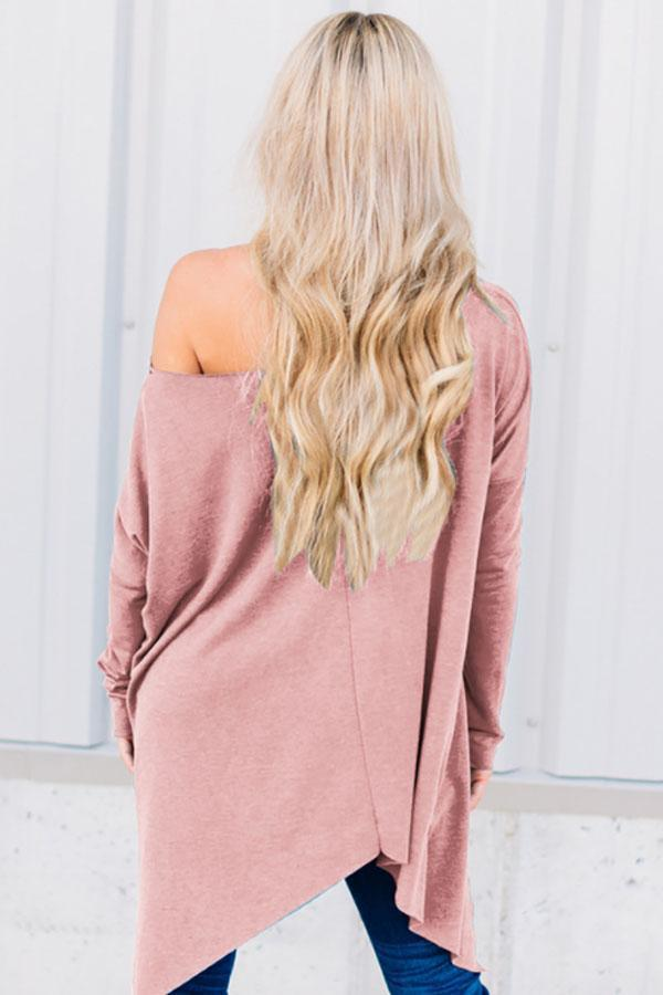 One Shoulder  Asymmetric Hem  Plain T-Shirts Pink m