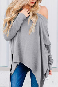 One Shoulder  Asymmetric Hem  Plain T-Shirts Light Gray xl