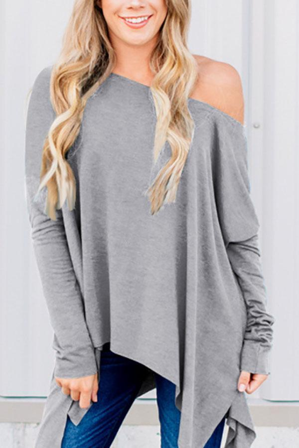 One Shoulder  Asymmetric Hem  Plain T-Shirts Light Gray 2xl