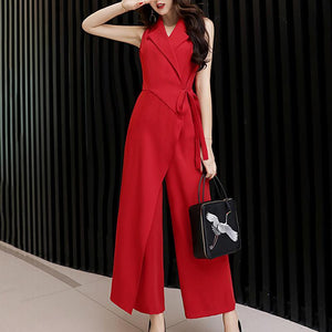 Fashion High-Waist V Neck Chiffon Pure Colour Jumpsuits Blue 2xl