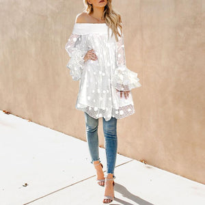 Casual Sexy   Boat Neck Wave Point Lace Mini Dresses White m