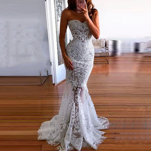 Fashion Off-Shoulder   Lace Sleeveless Evening Dress White xl
