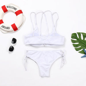 Wear Rope Sexy Swimsuit High Bullet Bikini Two-Piece Set White m