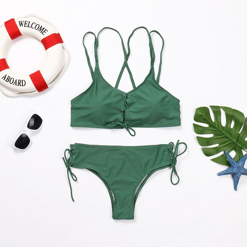 Wear Rope Sexy Swimsuit High Bullet Bikini Two-Piece Set Army Green s
