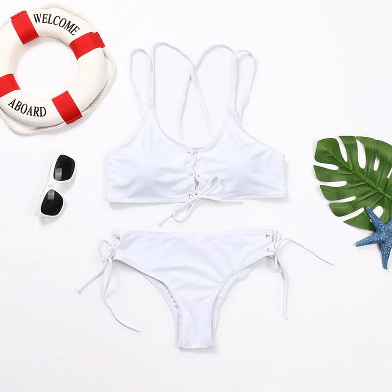 Wear Rope Sexy Swimsuit High Bullet Bikini Two-Piece Set White l