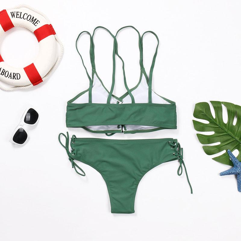 Wear Rope Sexy Swimsuit High Bullet Bikini Two-Piece Set Army Green m