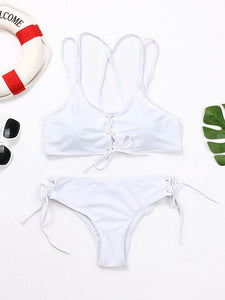 Wear Rope Sexy Swimsuit High Bullet Bikini Two-Piece Set White s