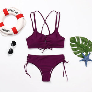 Wear Rope Sexy Swimsuit High Bullet Bikini Two-Piece Set Claret m