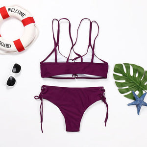 Wear Rope Sexy Swimsuit High Bullet Bikini Two-Piece Set Claret l