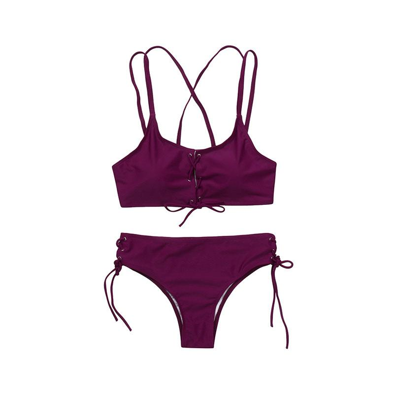 Wear Rope Sexy Swimsuit High Bullet Bikini Two-Piece Set Claret xl