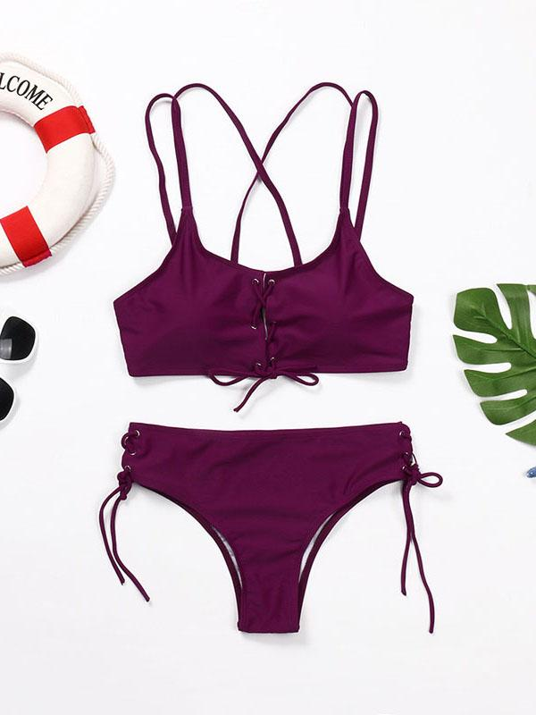 Wear Rope Sexy Swimsuit High Bullet Bikini Two-Piece Set Claret s