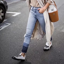 fashion Gradient colour Nine-cent jeans Straight pants