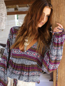 Beautiful Floral-Print Long Sleeve Deep V Neck Bohemia Beach T-Shirt Tops GRAY-PURPLE L