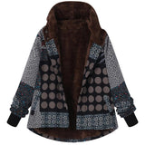Casual Plaid Print Hooded Jacket Red l