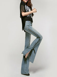 Fashion Bandage Slim Bell-bottoms Jean Pants Bottoms LIGHT BLUE XL