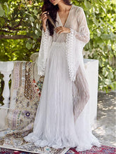 See-through Flared Sleeves V-back Maxi Dress