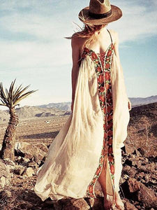 Bohemia Flower Spaghetti-neck Beach Long Dress CREAMY-WHITE S