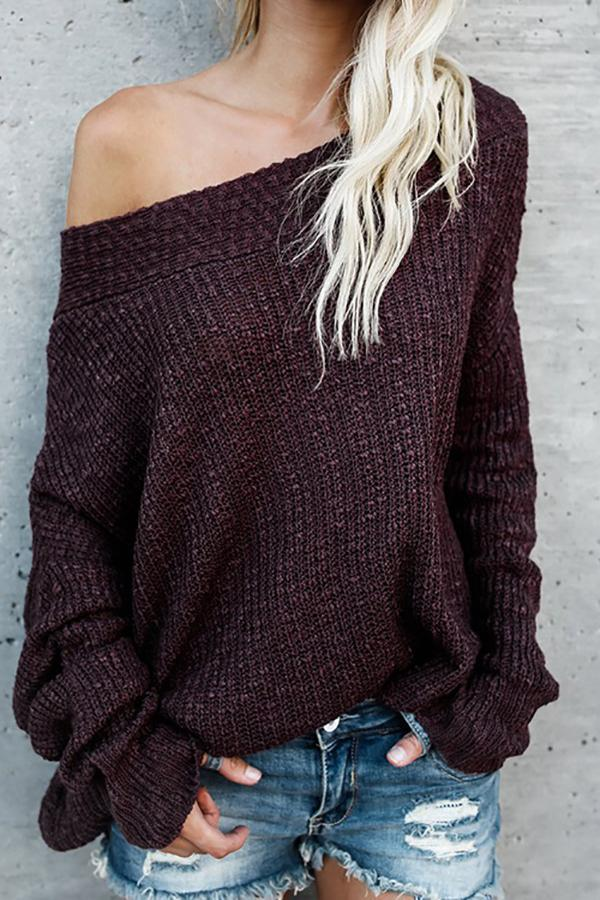 Loose Shoulder-Length Knitted Sweater claret 5xl
