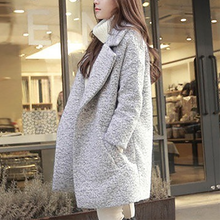 Fashionpure Colour Long Sleeve Loose Thickening Coat