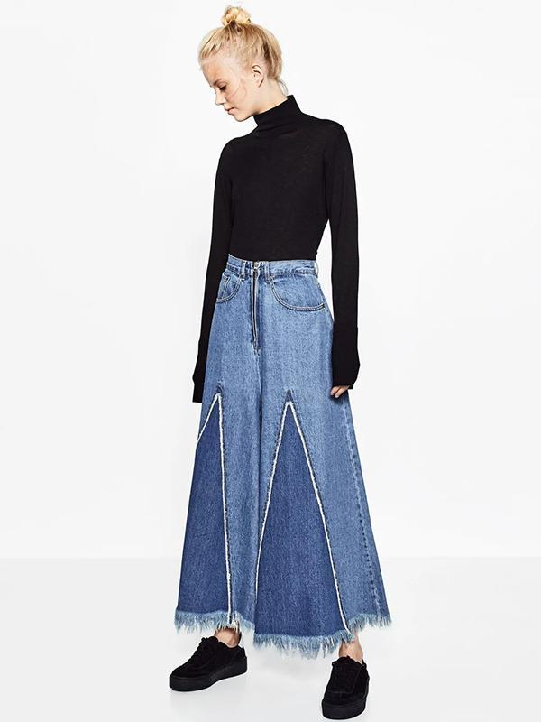 Fashion Loose Wide Leg Tassels Trousers Bottoms BLUE M