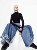 Fashion Loose Wide Leg Tassels Trousers Bottoms BLUE S